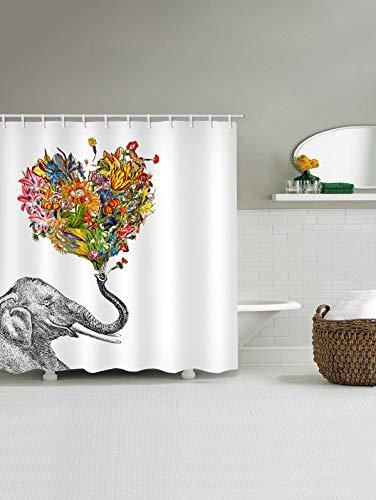 Gutgojo - Cortina de Ducha antimoho, 180 x 200 cm, Lavable, Textil, Incluye 12 Anillos de Cortina de Ducha para Cuarto de baño