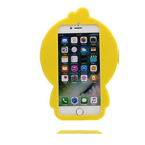 iPhone 6 copertura,iPhone 6S Case,Cassa molle del silicone molle della cassa dell Fiore cactus del fumetto 3D per il iPhone 6 / iPhone 6S 4.7inch giallo