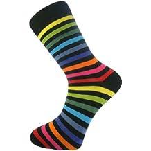 My Socks - Calcetines para hombre (algodón, cómodos, estilo casual y formal), diseño de rayas, color oscuro con rayas de colores variados