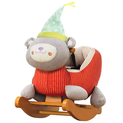 Labebe cavallo dondolo legno, peluche dondolo bambini di orso arancione chiaro per 1-3 anno, cavalluccio dondolo/giochi cavalcabili bambini/sedia dondolo bambinigiochi cavalcabili primi passi