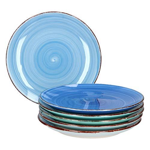 MamboCat Teller-Set Blue Baita für 6 Personen | Kuchenteller rund | Ø 19.5 cm | Dessert-Teller | Essteller | Blau-Mix | Porzellan-Geschirr | backofentauglich -