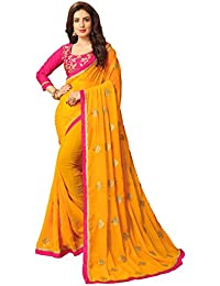 Vastrang Women's Georgette Saree With Blouse Piece(6211CTPNK_Pink_Free Size)