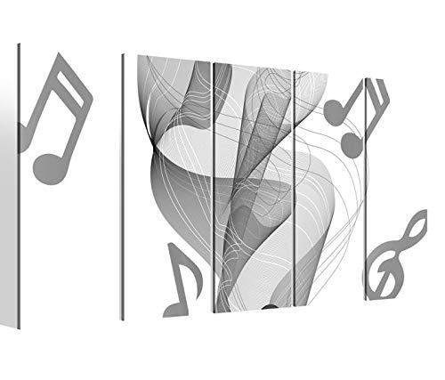 Leinwandbilder 5 teilig XXL 200x100cm schwarz weiß Musik Noten Xylophon abstrakt Druck auf Leinwand Bild 9BM1836