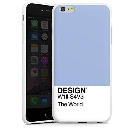 Apple iPhone SE Tasche Hülle Flip Case Pantone Pastell Blau Silikon Case weiß