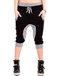 24brands - Damen Harems Hose Aladin Sporthose Freizeithose Fitnesshose Trainingshose Caprihose kurze Hose 3/4 Sommer- 2914
