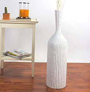 Leewadee Grand Vase Décoratif 75 cm, Bois du manguier, Blanc