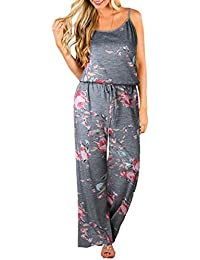 2d527c3c74f9 ECOWISH Womens Jumpsuits Summer Floral Printed Spaghetti Strap Sleeveless  Casual Jumpsuit Rompers