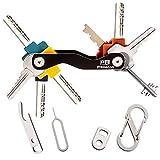 Schlüsselhalter Schlüssel Organizer, Kompakt Einfach zu bedienen, Tragen, die meisten Schlüssel passen (bis zu 20), inklusive SIM & Flaschenöffner, Karabiner & Schlüsselschlaufe (Schwarz) - PrimeZon