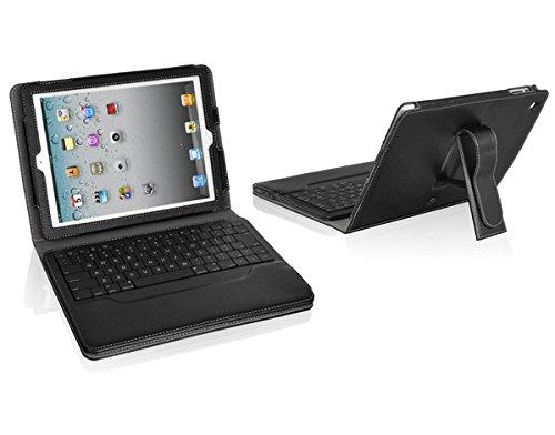 Luxa2, slimBT Stand Leder Case Schwarz mit deutscher Bluetooth Tastatur für iPad 2 & 3