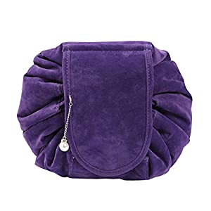 Drawstring Cosmetic Bags Large Capacity Beautician Organizer Toiletry Cosmetic Bags Portable Quick Pack Waterproof Travel Bag (Purple 3)
