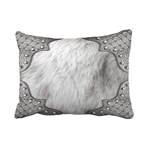 CHSUNHEY Dekor Kissenbez¨¹ge Cushion Cover Custom Retro Fashion Rabbit Longhair and Silver Alligator Trim Print 20x30 Inch Pillowcases,Eco-Friendly Print -