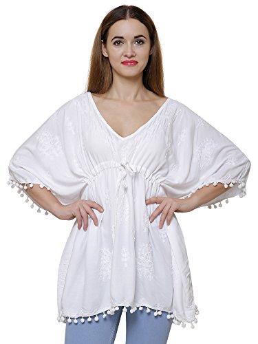 DAMEN MODE Women Cotton Embroidered Western Kaftan Top (White, Large)