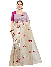 SAREE MALL Art Silk Saree With Blouse Piece(Womens Party Wear Sarees_TTLI002_Beige_Free Size)
