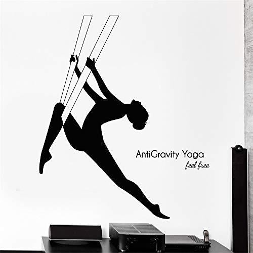 Wandtattoo Yoga Anti-Schwerkraft Zen Om Buddha Buddhismus Sport Vinyl Aufkleber gelb 72x83cm -