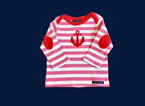ebbeundflut - Maritimes Baby-Langarmshirt Anker Hamburg - fair - Babypullover rosa weiß gestreift