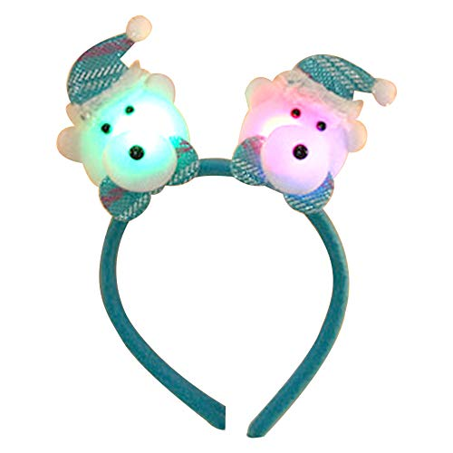 CHCUAN Weihnachten süße LED Stirnband Leuchten Urlaub Party Haarband Weihnachtsmann Schneemann Elch Haarband