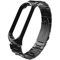 HKFV Cleace - Correa de Reloj de Acero Inoxidable para XiaoMi Mi Band 3, Negro, Band Width: 16mm Band Length: 210mm