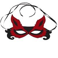 YAANCUN Adulto Linda Máscara de Disfraz Mascarilla de Zorro Antifaz para Halloween Navidad Fiestas Cumpleaños Cosplay para Mujeres, Rojo y Negro