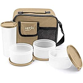 Milton Meal Combi Lunch Box, 3 Containers and 1 Tumbler, Cream