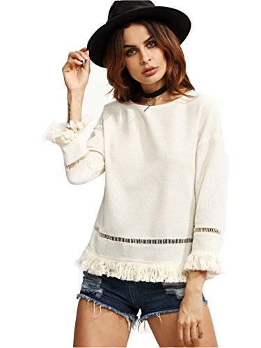 ROMWE Sweat-shirt femme Oeillet au crochet avec garniture à franges Beige
