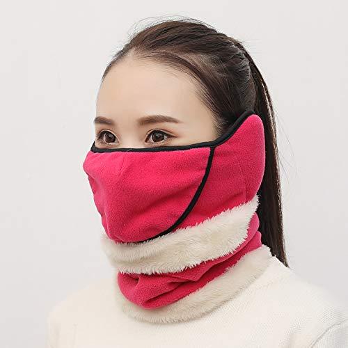 Verdicken Sie samt Herbst und Winter warme Ohrenschützer Lätzchen EIN Elternteil-Kind-Modelle reiten Hals kalt Gesichtsmaske weibliche Kinder (Öffnung + Lätzchen) - Rose Red -