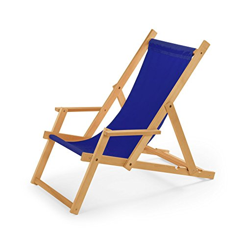 Chaise longue de jardin en bois, Transat, Chaise longue relax de plage, chaise longue avec accoudoirs. bleu