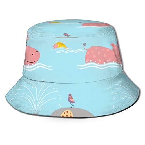 Elefante Lindo con hipopótamo Sombreros de Copa Transpirables de Tapa Plana Use Gorras de Pescador de protección Solar