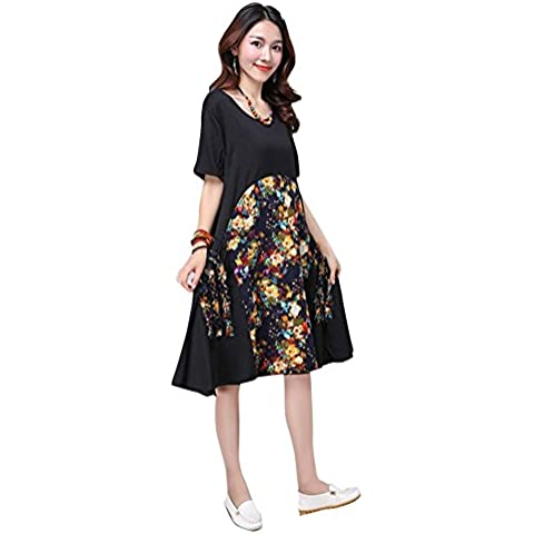 Fuyong Women Chinese Style Casual All Natural Fluid Systems Printing Dress 8001 -  Vestito  - Donna