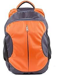 TT Bags Standard Size Backpack For Boys & Girls - Orange & Black