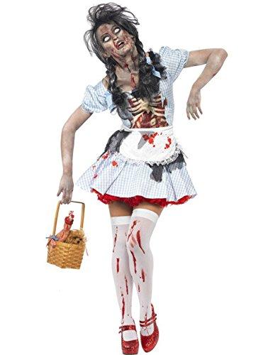 Kleid Dorothy Kostüme Schürze (Horror Zombie Dorothy Märchenkostüm Halloween Damenkostüm hellblau weiss)