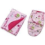 Baby Bucket AC Double Layer Velvet Fleece Newborn Printed Baby Blanket & Swaddle Wrap (Light Pink)
