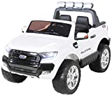 Actionbikes Motors Kinder Elektroauto Ford Ranger Modell 2018 Allrad 4x4 / 2x4 Lizenziert SUV 2 Personen 4 x 12 V 45 Watt (Total 180 Watt) (Weiß)