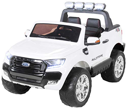 Actionbikes Motors Kinder Elektroauto Ford Ranger - Allrad 4x4 - Touchscreen - 2 Sitzer - 4 x 45 Watt Motor- 2,4 Ghz Rc Fernbedienung - Elektro Auto für Kinder ab 3 Jahre (Allrad Weiß)