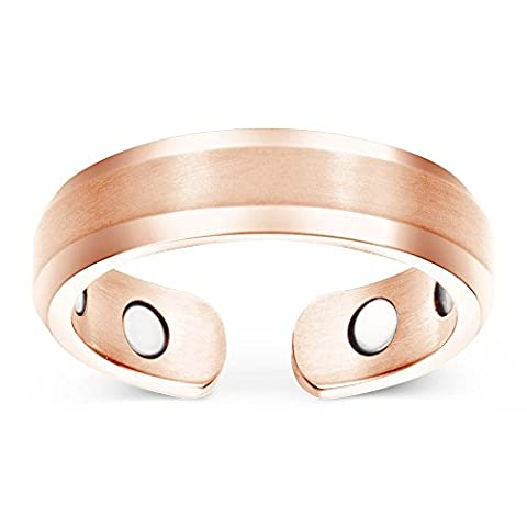 Smarter LifeStyle Elegant Titanium Magnetic Therapy Ring Pain Relief For Arthritis And Carpal Tunnel Women's (US Size 7) Rose