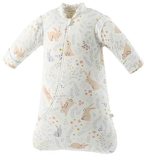 Missfly Baby Schlafsack mit abnehmbaren Ärmeln Winter Angedickte (L/Körpergröße 85-100cm, Süßes Kaninchen)