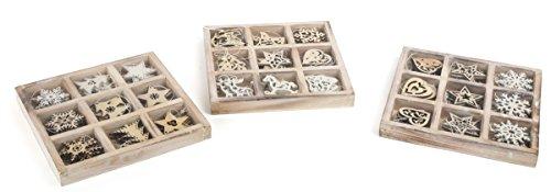 Small Foot Deko-Hänger aus Holz zur Weihnachtsdekoration, im 3er Set mit je neun verschiedenen Holzdeko-Anhängern, ideal als Baumschmuck geeignet Dekoornament, Natur 18 x 18 x 2 cm