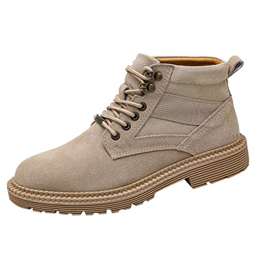 Yourgod Autumn Winter Mens Running Flat Round Toe Motorbike Matte Leather Military Non Slip Boots Suede Warm High Slip Lace up Work Shoes