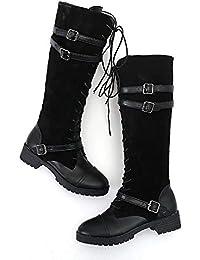 82046ce4f4f5 Damen Schuhe Flock Roman Reiten Kniehohe Cowboystiefel Martin Lange Stiefel