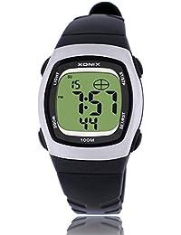 Reloj electrónico digital de múltiples funciones de los ni?os,Jalea led 100 m resina resistente al agua correa alarma cronómetro hora dual chicas o chicos moda reloj de pulsera-G