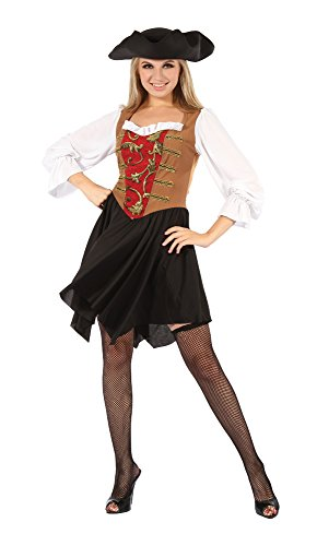 Bristol Novelty AC725 rot/braun Piraten Lady Kleid (UK 10–14) (Schuhe Caribbean Pirate)