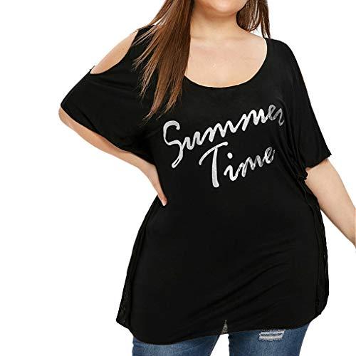 TEELONG Bluse Damen Sommer Plus Größe lässig Schulterfrei Top gedruckt Buchstaben Bluse Tops Blusen Tunika Westen Sweatshirts(XXL, Schwarz)