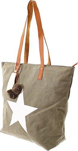 Damen Handtasche Sommertasche Canvas Tasche mit Stern Damen Tasche Handtasche Tragetasche Schultertasche Stofftasche Weekender (Olive) Olive