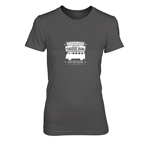 Ich Bin eine Bulli fahrende Mama - Damen T-Shirt, Größe: M, Farbe: grau