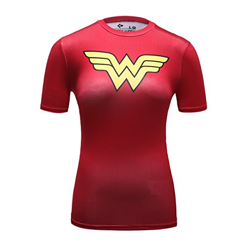 Cody Lundin® Damen Kurzarm Hemd Fitness Running Yoga Kompression T-Shirt Superheld Wonder Woman Shirt (Wonder Woman B, M) - Wonder Woman Frauen T-shirts Für