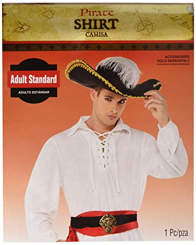 White Pirate Shirt Costume - Standard - Chest Size 42 by Amscan (White Pirate Shirt)