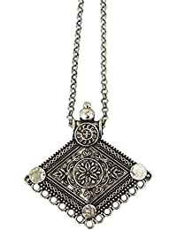 KARA TIQUE Silver Plated Double Chain Oxidized Oxidisd German Silver Fancy Artificial Maang Tikka Forehead Traditional...