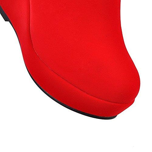 AgooLar Damen Niedrig-Spitze Reißverschluss Hoher Absatz Rund Zehe Stiefel mit Juwelen Rot
