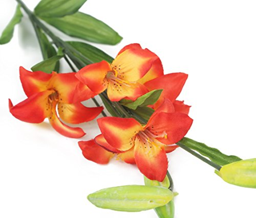Floral Elegance Artificial 75cm Single Stem Red Asiatic Lily