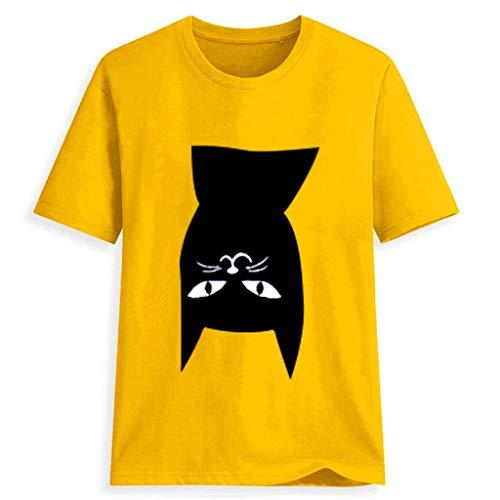Öffnen Büste Bodystocking (Bellelove 2019 Damen Sommer T-Shirt Rundhals Kurzarm Top Nette Katze Druck Bluse Atmungsaktive Absorption Shirt)