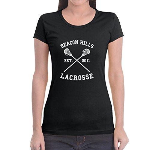 Teen Beacon Hills Lacrosse Wolf Damen Schwarz Medium T-Shirt Slim Fit